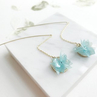 Real flower Blue Hydrangea Earrings 18KGP