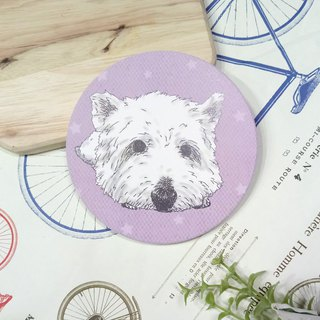 Customized (can add words) - boring boring ~ sketch West Highland White Terrier - water coaster ~ ceramic coasters