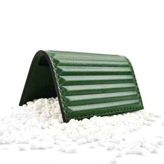 PIPILALA Leather Design Three-dimensional leather business card holder - Classic horizontal stripes (forest green)
