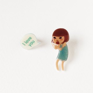Small Q Series - Scream I love you green handmade goods original illustration love shouting / pin brooch gift