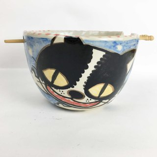 Nice Little Clay handmade bowl of various black and white cats 0201-21