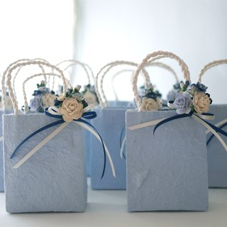 Paper flower, Medium 10 Gift grayish blue bags paper&accessories, white roses bouquets with ribbons.