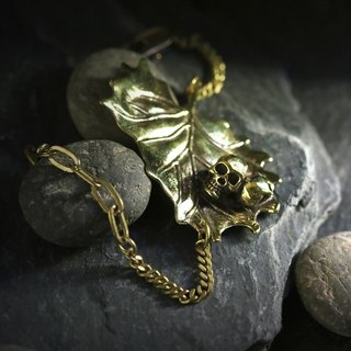 Skulls with Natural Bracelet/Skull and Leafs/Gold Skull by Defy/Anatomical and Leafs