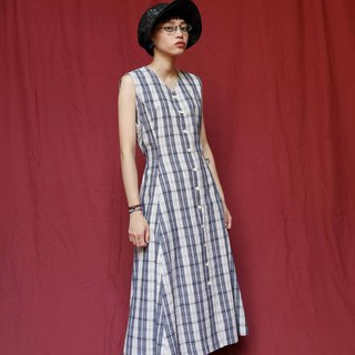 Pumpkin Vintage. Ancient plaid-breasted cotton strap dress