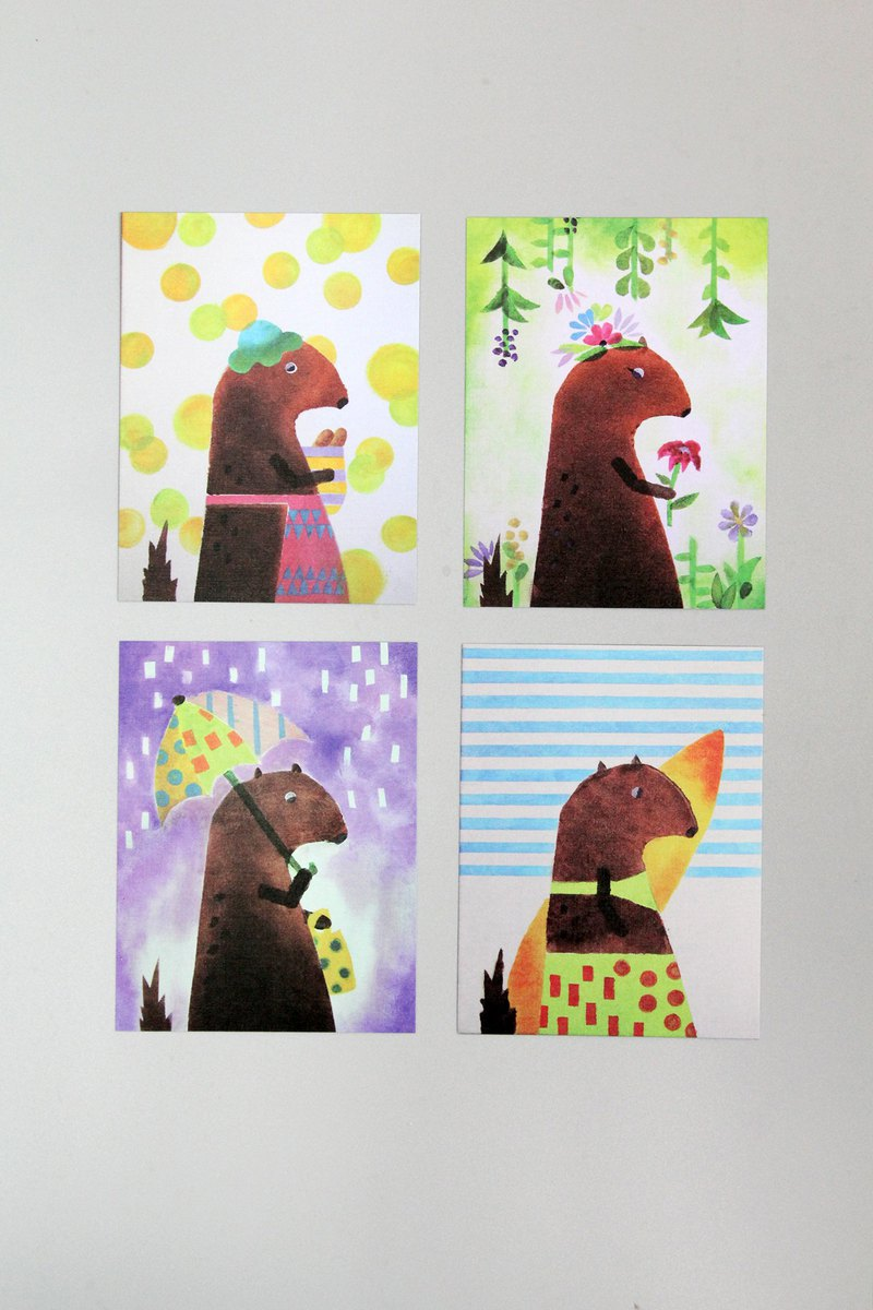 Miss Luo Mi Design - Haishu Four Seasons Illustration Postcard Set (set of four)