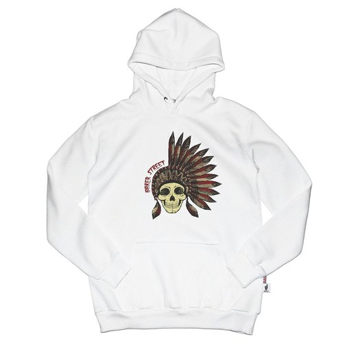 British Fashion Brand [Baker Street] Indian Skull  Printed Hoodie