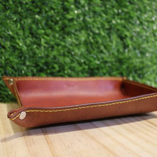 [Mini5] hand dyed straight leather storage tray (brown)