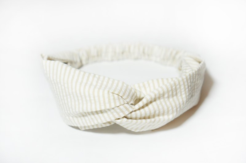 Light khaki stripe / handmade elastic hair band