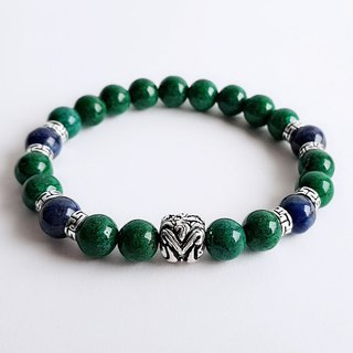 Gemstones. Really. Natural ore 矽 Malachite Lapis 925 sterling silver . Bracelet