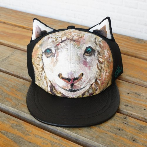 Hand painted cat ear cap <light smile sheep>