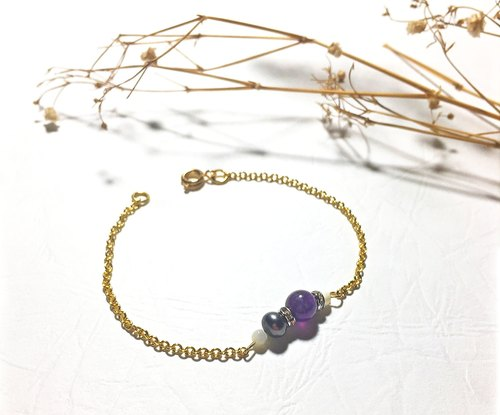 Natural series AlL2 -Amethyst+Black Pearl bracelet