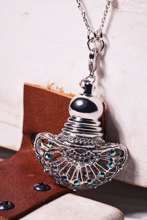Goody Bag - Neve Jewelry Fancy Bottle Mini Perfume Bottle Necklace (Silver)
