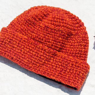 Hand-knitted pure wool cap / knit cap / knitted cap / inner brush hair hand-woven wool cap / wool cap - orange