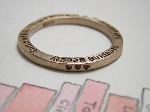 storyteller ( mille-feuille ) ( engraved stamped message silver jewelry ring happy princess 王妃 公主 物语 故事 本事 幸福 福气 造化 刻印 雕刻 銀 戒指 指环 )