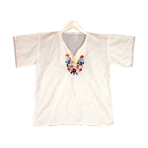 Mexico beige cotton embroidered blouse local