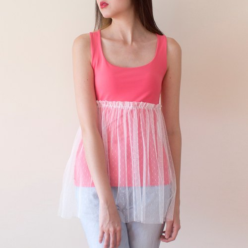 Transformation of old clothes: pink chiffon vest