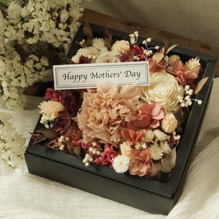 Non-dairy tea with coloured carnation Mother's Day flower box