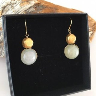 Myanmar natural jade ◇ K14GF earrings / earrings 3