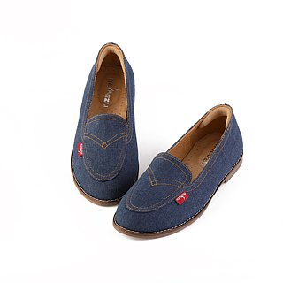 [Zero code clear] Before the bottom, clear the leather inside, casual loafers, denim, limited dark blue