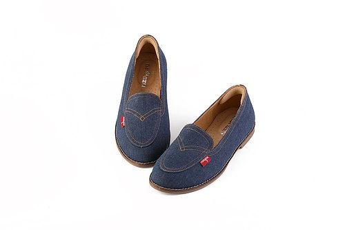 [Fu Lu Denning] handmade shoes leather shoes in the field of loafers / Taiwan denim / leather lining / original limited edition B91901 dark blue
