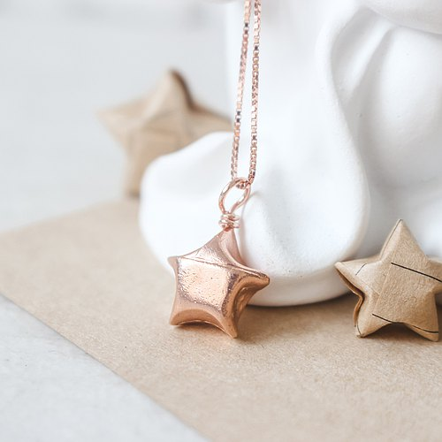 Sterling silver rose gold lucky necklace / fold lucky star necklace (not lettering)