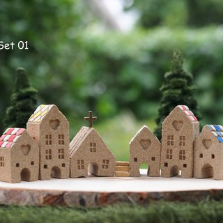 Ceramic House- Set of 7 (6 houses + 1 stair)
