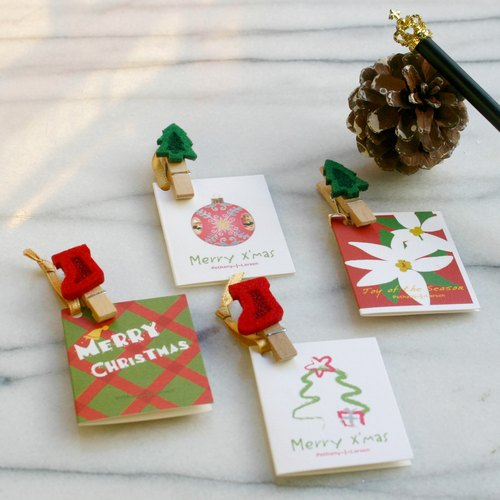 [Christmas] defines wool felt small wooden clip card (four into a group)