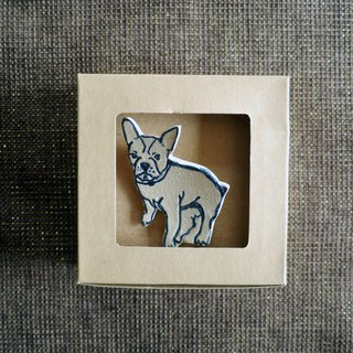 Dog Blue and White ceramic Brooch