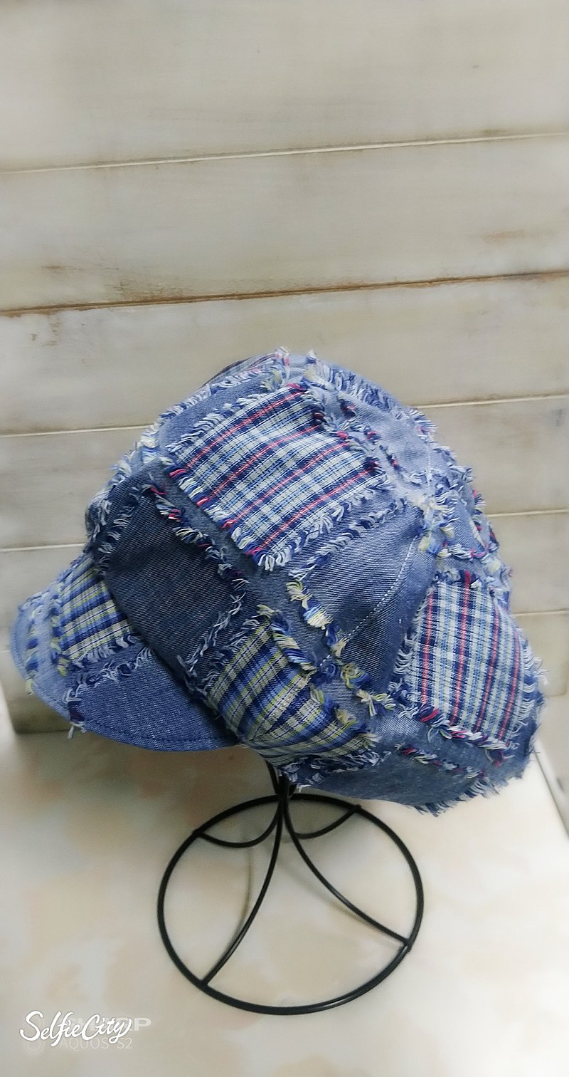 Custom order-street cowboy stitching black and white plaid double-sided newsboy hat