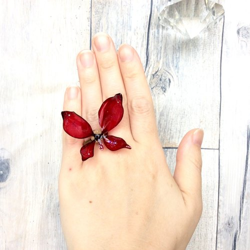 Butterfly ring dip Art ring of starry sky
