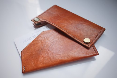 【艸 a field of people spell color magnetic buckle leather business card holder | card holder | 艸 a field of people | pure hand
