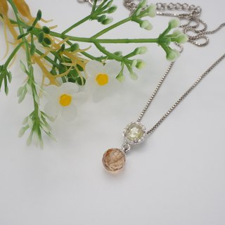 Silver 925 setting ChampagneCabochon+Briolette ball Pendant on Italian box chain