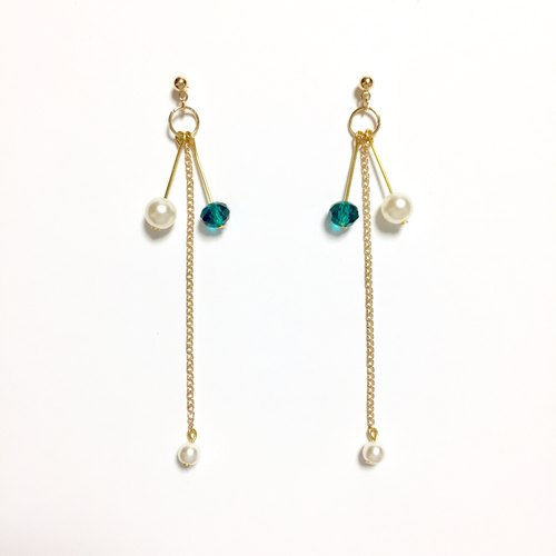 Ear clip-on can be changed! Brass +] ❤️ lake green crystal asymmetric + + + elegant minimalist intellectual + + + natural stone pearl earrings drape