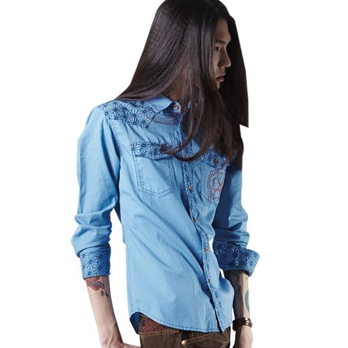 Castor Leaf embroidery Pocket embroidery Wooden color buttons Long-sleeved shirt