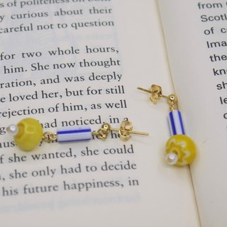 Yellow and blue stripes handmade glass yellow flower earrings can be replaced specifically recommended models