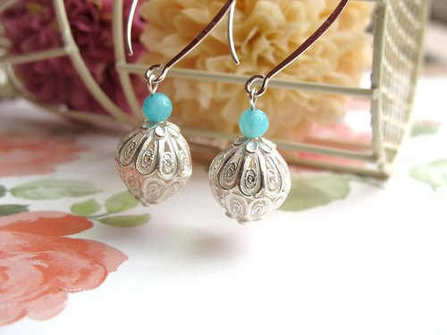 [Earrings series - Water color lanterns] Tianhe stone x 925 Tremella hooks - Hands natural stone series