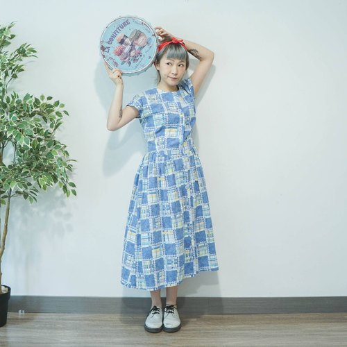 Ancient cloth | Japanese | Blue Patchwork Printed cotton