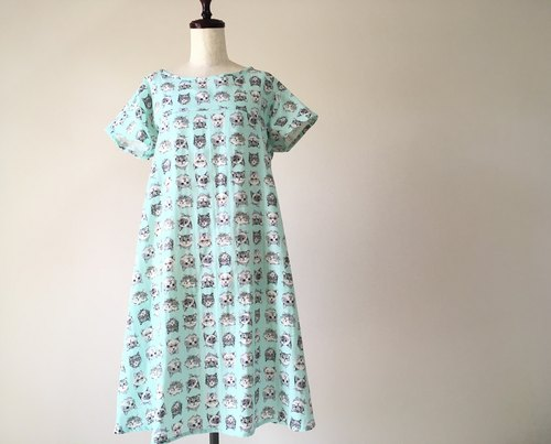 Spoof cats flare dress Fluffy double gauze mint green