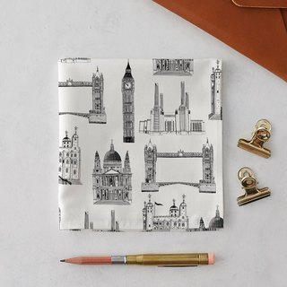 LONDON BUILDINGS HANDKERCHIEF & POCKET SQUARE