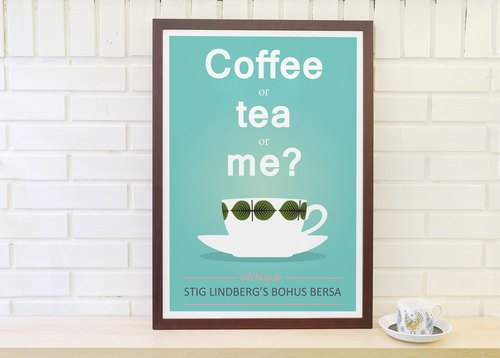 Dedicated to set the Nordic retro simple poster Coffee or Tea or me? Original customizable painting A4 A3 A2