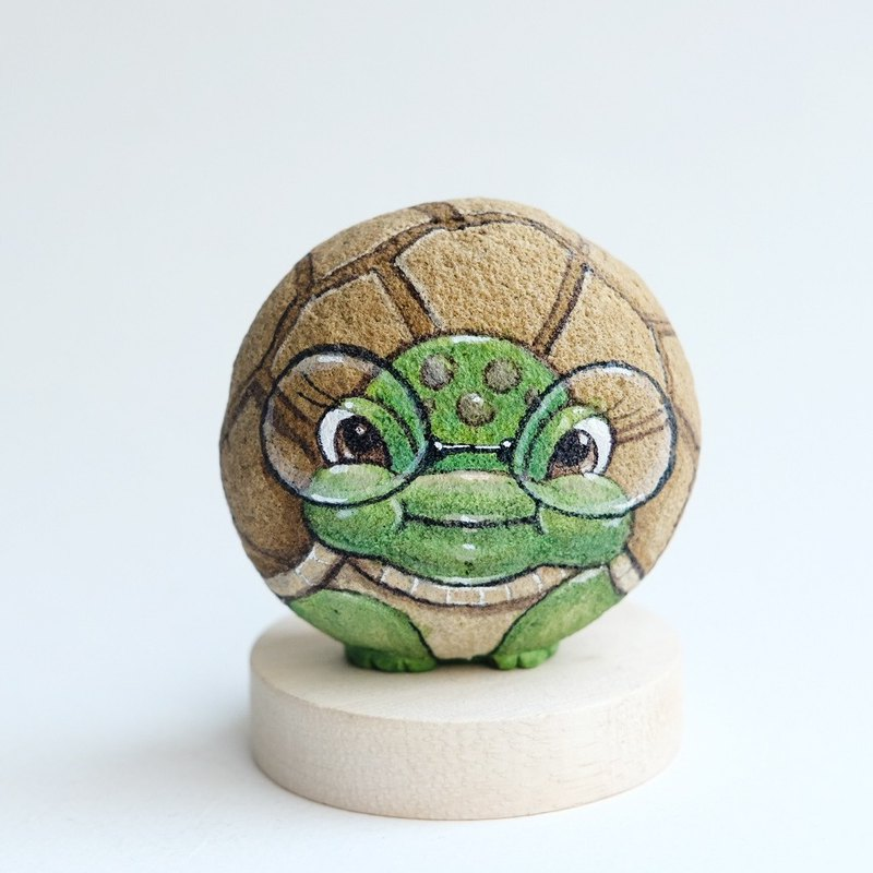 Turtle stone painting.handmade gift doll stone.