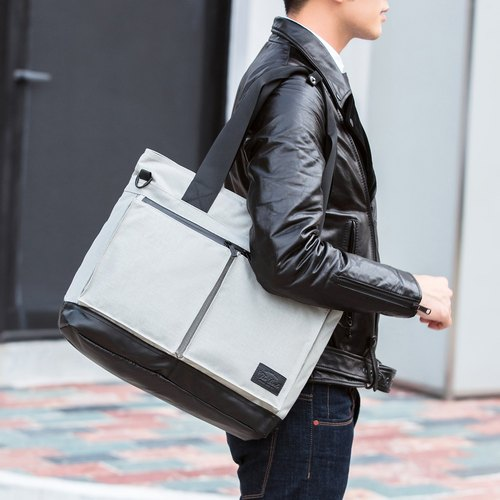 【THE DUDE】 large capacity shoulder bag computer bag briefcase oblique bag splashing water travel bag Temper - silver gray