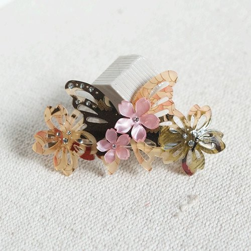 Wu Qiu Feng, automatic butterfly clip, hair clips - red ink