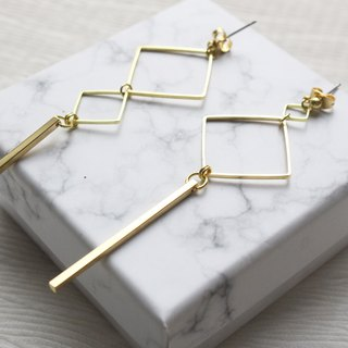 geometry. Simple box brass long earrings