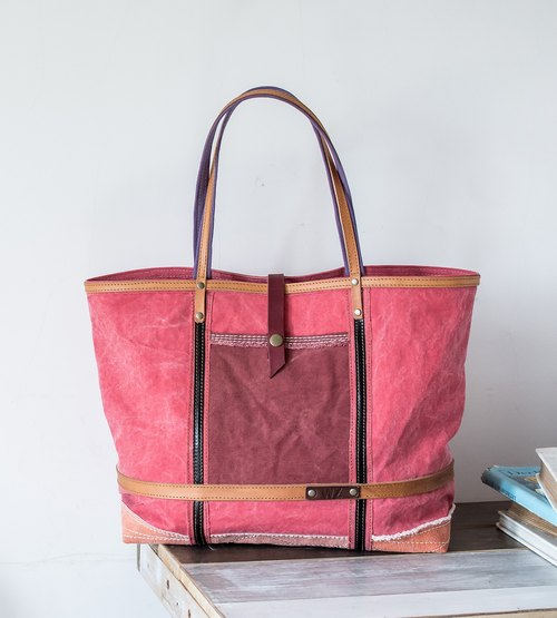 WZ bag- washed berries hand-dyed leather + canvas tote bag =