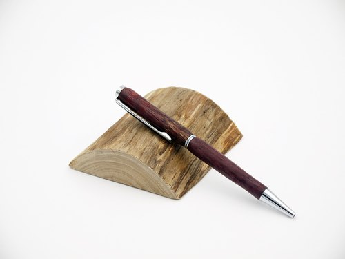 Purple heart wood wood ball pen chrome wood hand pen pencil case, leather (including laser engraving)