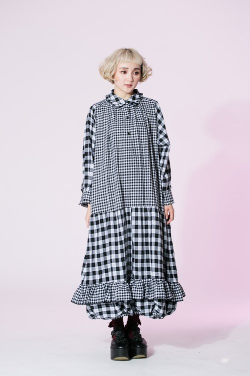 : EMPHASIZE small round neck dress stitching Plaid skirt size pop - checkered
