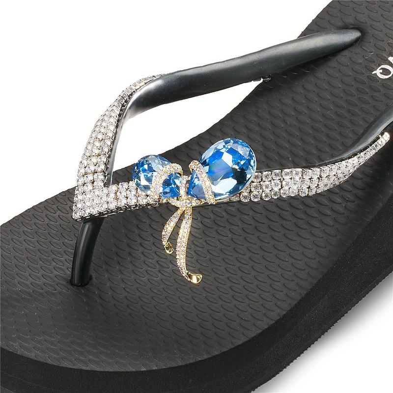 女款6cm厚底夾腳拖鞋-頂級首飾工藝水鑽-雙石結 爵士黑