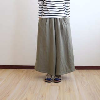 Daily hand-made suit antique style olive green pleated wide pants skirt oblique textured linen