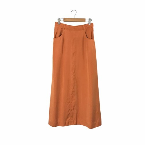 Takumi - summer orange fruit front slits double pockets dress